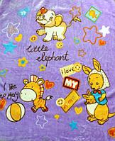 Детский флисовый плед Зоопарк (фиолетовый)
