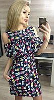 Модное черное платье из тонкого джинса, принт-микки. Арт-3019/18