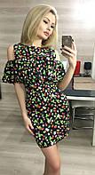 Модное черное платье из тонкого джинса, принт- ягоды. Арт-3019/18