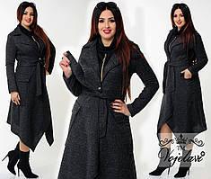 Пальто батал асимметрия (разные цвета) 48-54р.