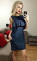 Модное темно-синее принтованное  платье из тонкого джинса. Арт-3019/18