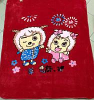 Детский флисовый плед Веселые Овечки (красные)