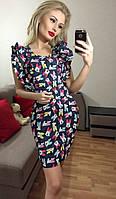 Модное платье с воланами, принт-микки. Арт-3020/18