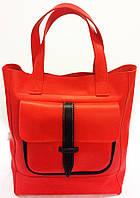 Shoper  pocket mini red  Сумка женская кожаная