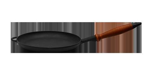 Сковорода чугунная (блинница), класса Премиум, с деревянной ручкой, d=260мм, h=25мм