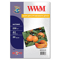 Фотобумага WWM Матовая 230г/м кв, А3, 20л (M230.A3.20)