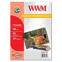 Фотобумага WWM Глянцевая 180г/м кв, А4, 100л (G180.100)