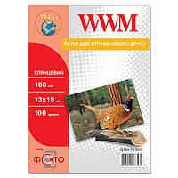 Фотобумага WWM Глянцевая 180г/м кв, 13см х 18см, 100л (G180.P100/C)
