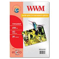 Фотобумага WWM Глянцевая 200г/м кв, А3, 20л (G200.A3.20/C)