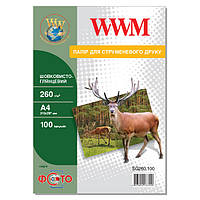 Фотобумага WWM шелковисто - глянцевая 260г/м кв, А4, 100л (SG260.100)