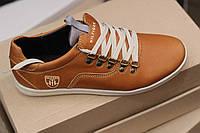 Мужские кожаные спортивные туфли Hilfiger,качество, коричневые