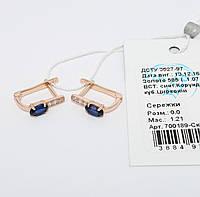 Золотые серьги с искусственными сапфирами 700189-Ск.сф