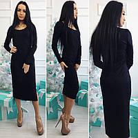 Женское черное гипюровое платье на трикотажной основе. Арт-3026/18