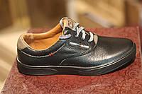 Мужские кожаные спортивные туфли Hilfiger,качество, черные