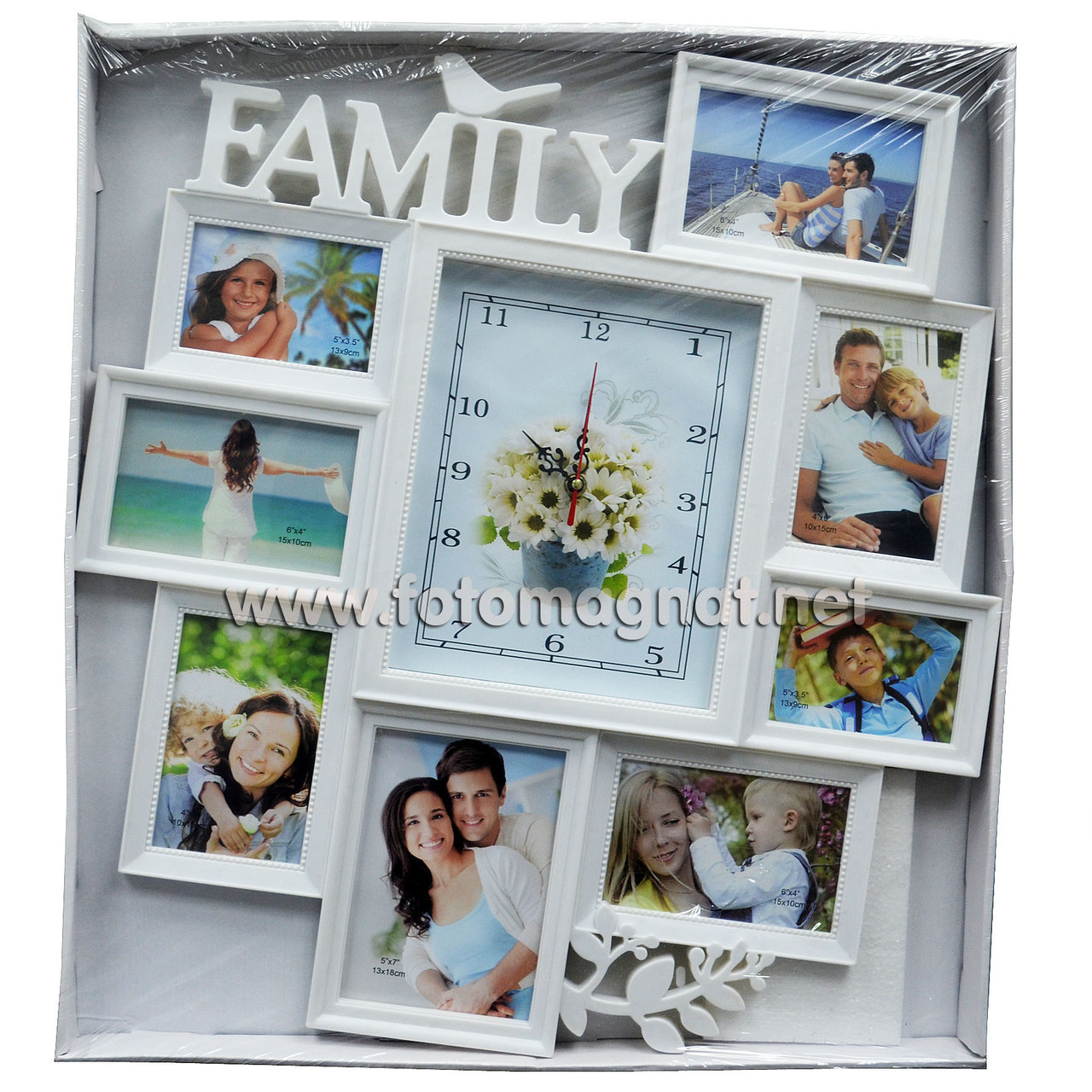 "Мультирамка с часами  ""FAMILY""  — Фоторамка коллаж на стену"