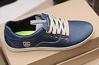 Мужские кожаные спортивные туфли Hilfiger,качество, синие