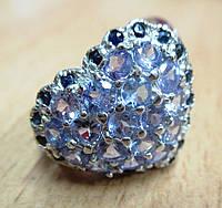 """Яркое кольцо с танзанитами и сапфирами """"Сердце"""" , размер 19,3 от студии LadyStyle.Biz"""