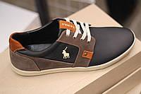 Мужские кожаные спортивные туфли POLO ,качество, черные c коричневым