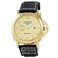 Мужские кварцевые часы Panerai Luminor Marina Quartz Date Black-Gold-Gold