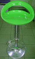 Стул барный хромированный Торре зеленый глянцевое пластиковое сиденье