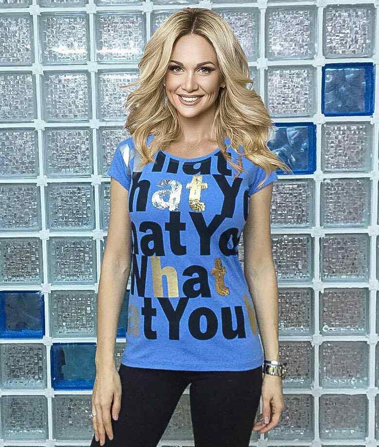 "Женская футболка ""What"" синий"