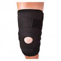 Бандаж на колено с силиконовым кольцом и металлическими шарнирами неопреновый