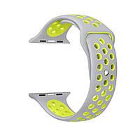 Спортивный ремешок для Apple Watch 42mm Silver-Yellow