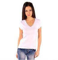 Белая футболка женская летняя с коротким рукавом без рисунка хлопок с кружевом трикотажная (Украина)