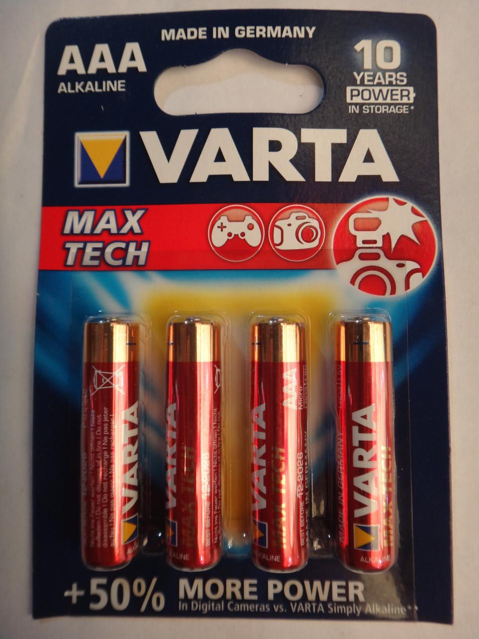 Батарейки AA Varta 4706 MAX TECH +50% больше энергии 10 лет держит заряд
