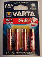 Батарейки AAA Varta 4703 MAX TECH +50% больше энергии 10 лет держит заряд