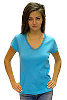 Женская голубая футболка летняя с коротким рукавом однотонная хлопок с кружевом трикотажная (Украина)