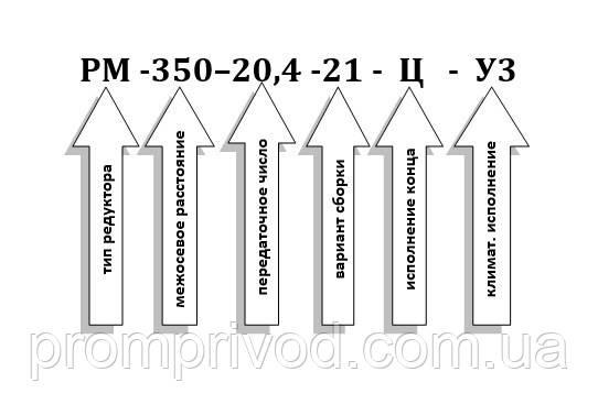 Условное обозначение редуктора РМ-350-22,4