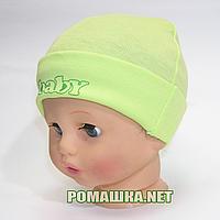 Детская трикотажная шапочка р. 42 для новорожденного отлично тянется ТМ Sweet Mario 3481 Зеленый