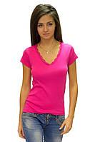 Розовая футболка женская летняя с коротким рукавом однотонная хлопок с кружевом трикотажная (Украина)