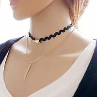 Чокер ожерелье с цепочкой