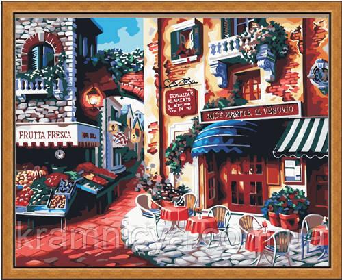 "Роспись картины на холсте по номерам ""Кафе на углу улицы"", 40х50см. (MG078, КН078)"