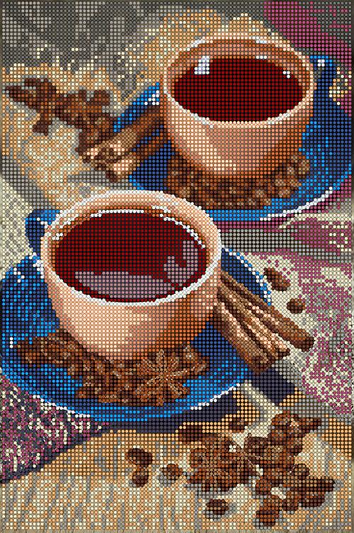 Схема для вышивки бисером POINT ART Ароматный кофе, размер 20х30 см