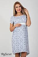 Оригинальное платье для беременных и кормящих Flyor, из штапеля, синий узор на белом, фото 1