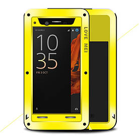 Чехол накладка для Sony Xperia XZ F8332 металлический противоударный, LOVE MEI, желтый