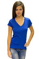 Синяя футболка женская летняя с коротким рукавом однотонная хлопок с кружевом трикотажная (Украина)