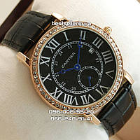 Часы Cartier Woman Dimonds Gold/Black.