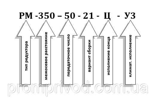 Условное обозначение редуктора РМ-350-50