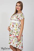 Оригинальное платье для беременных и кормящих Flyor, из штапеля, ирисы на молоке*