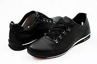 Кожаные мужские спортивные туфли ,черные, качество