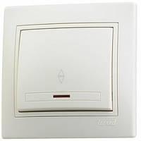Выключатель с подсветкой одинарный Mira 701-0303-111 кремовый