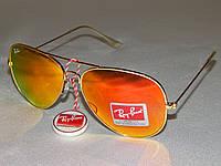Ray Ban aviator солнцезащитные очки, оранжевые, оправа цвет золото 810100, фото 1