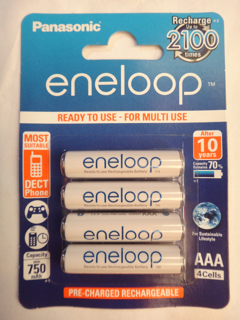 Аккумулятор AAA Panasonic eneloop HR03 1,2V 750mAh (up to 2100) упаковка - 4шт pre-charged rechargeable