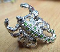 """Шикарное кольцо с хромдиопсидами """"Скорпион"""" , размер 17  от студии LadyStyle.Biz"""