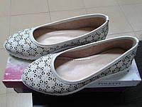 НОВИНКА! Летние  женские туфли с перфорацией FOLETTI  бежевые.