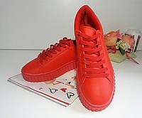 Женские кроссовки слипоны кеды криперы мокасины - красные.
